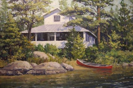 Gault&#8217;s Cottage &#8211;<br /> Oil-on-canvas 12&#8243;x16&#8243;<br /> showing a family retreat in Ontario.
