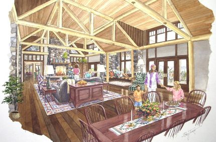 Hawk Creek – Typical ink and water color interior rendering; Hawk Creek Resort; Tacoma Land Company, Tacoma, WA