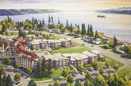 Aerial ink and water color rendering showing additions to a retirement community; Landmark on the Sound; Des Moines, WA
