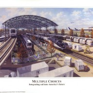 InterModal rail hub – Oil-on-canvas 24″x36″ commissioned by Charles Mott and used by Gil Carmichael of Intermodal Transportation Institute, University of Denver, CO to promote interconnected passenger and freight rail systems.