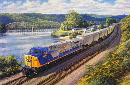 CSX locomotive – Oil-on-canvas 24″x36″ commissioned by General Electric Transportation Systems; Erie, PA; One of a series of paintings showing new locomotives for major railroads.