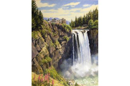 Snoqualmie Falls – Oil-on-canvas 11″x14″showing the famous Snoqualmie Falls in western Washington state.