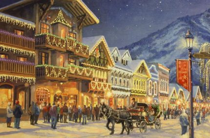 "Leavenworth Front Street – Oil-on-canvas 11″x14″ showing the Christmas lights in the famous ""Bavarian"" town in the Washington Cascade Mountains."