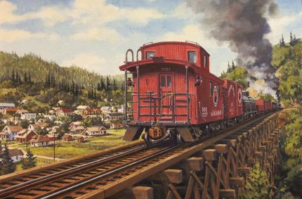Caboose – Oil-on-canvas 11″x14″ showing a former Northern Pacific Railway caboose, currently owned by a resident of Issaquah, WA, on the former Issaquah trestle.