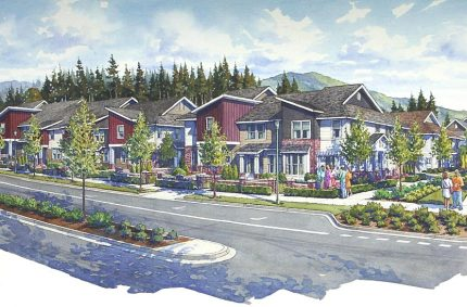 Typical multifamily residence rendering; ink and water color;  Pulte Homes, Issaquah, WA