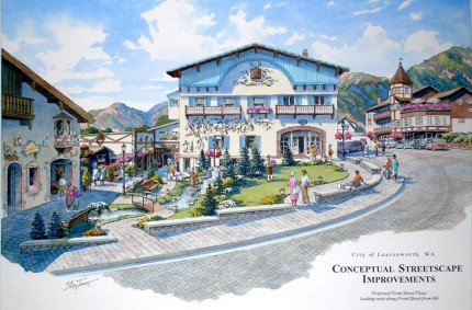 Royal Lady Plaza –  Pencil and watercolor 18″x24″ commissioned by City of Leavenworth, WA;  one of a series of 10 images showing proposed town master plan modifications.