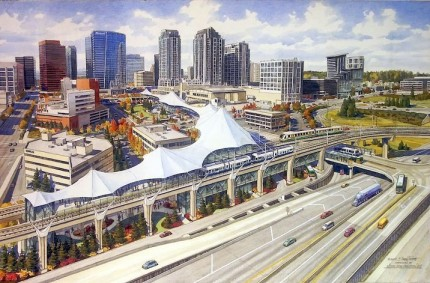 Vision Line Vision Line – Ink and watercolor 26″x40″ commissioned by Wallace Properties, Bellevue, WA; Concept rendering of a possible intermodal transit facility in Bellevue, WA.