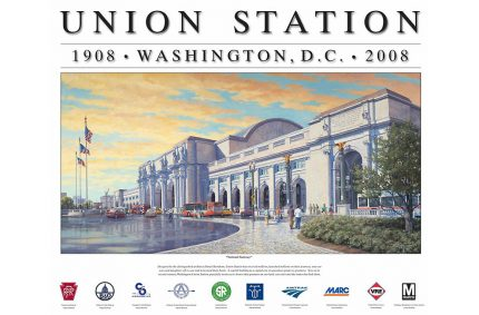 Washington Union Station – Oil-on-canvas 27″x56″ commissioned by Amtrak; Commissioned to celebrate the centennial of the classic Daniel Burnham-designed Union Station. Released as 18″x24″ posters.