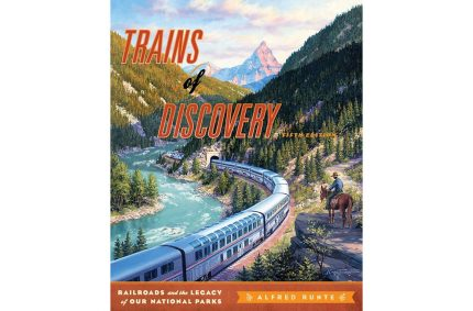 "Cover art for ""Trains of Discovery: Railroads and the Legacy of Our National Parks"", 5th edition, by Alfred Runte.  Painting originally commissioned by Amtrak."