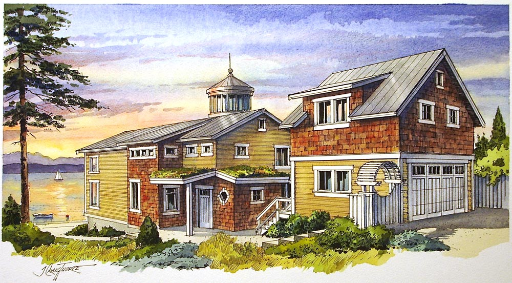 """Warm Beach residence – 12″x16″ ink and watercolor commissioned by GMS Architectural Group, Bellevue, WA; show a """"green"""" eco-friendly residence."""