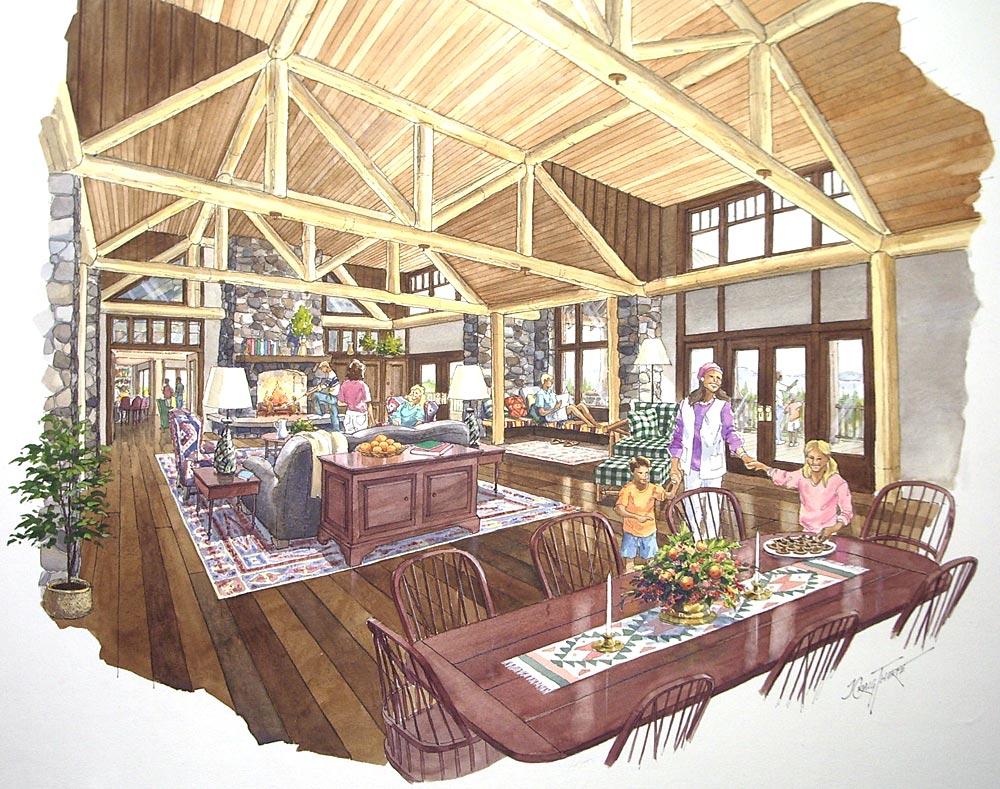 Hawk Creek – Typical ink and water color interior rendering; Hawk Creek Resort; Tacoma Land Company, Tacoma, WA
