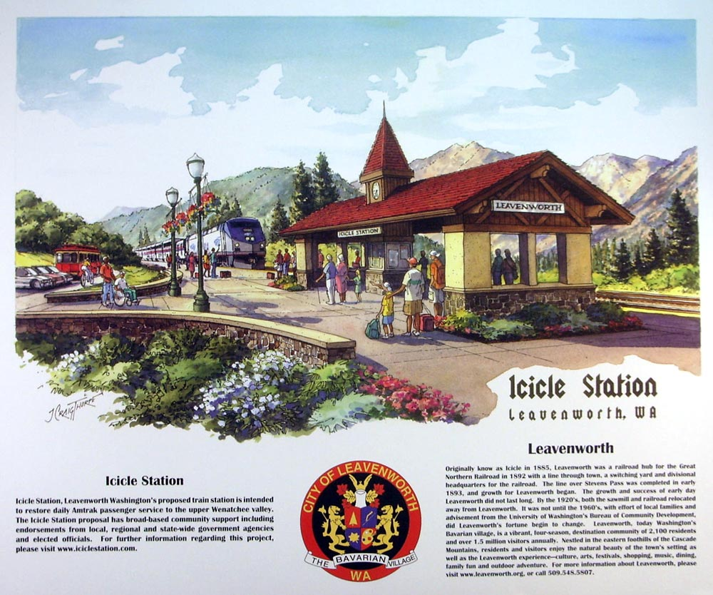 Icicle Station – Ink and watercolor 18″x24″ commissioned by the City of Leavenworth, WA to showcase the new Amtrak train station; used on posters, postcards, and pins.