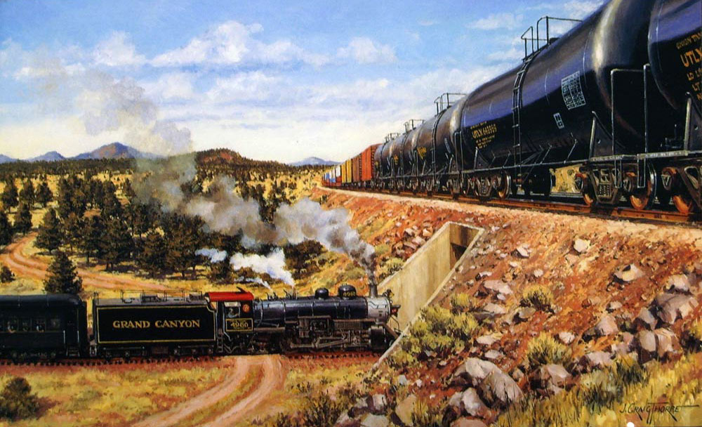 Union Tank Car Co. – Oil-on-canvas 12″x17″ commissioned by union Tank Car Co. Chicago, IL; one of a series of 14 paintings showing the cars of Union Tank Car in various locations around the US.