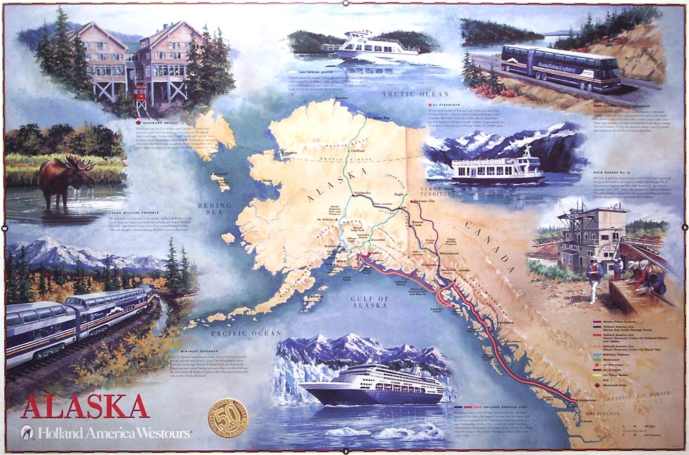Holland America Line map – Oil-on-canvas 24″x36″ commissioned by Holland America Line, Seattle, WA; Shows the various products and services offered in Alaska; Issued as a wall poster.