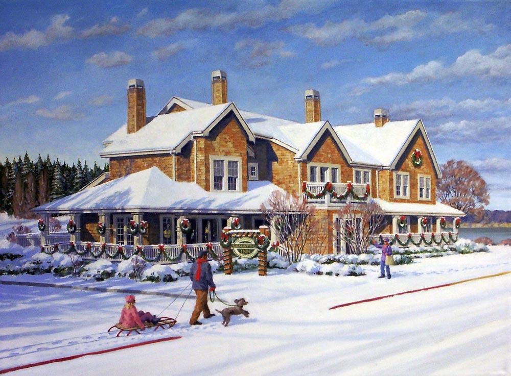 Saratoga Inn – Oil-on-canvas 24″x36″ showing the Saratoga Inn B&B in Langley, WA.
