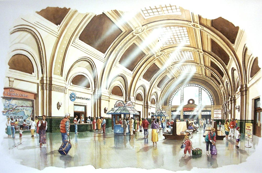 Union Station interior – 26″x40″ ink and watercolor commissioned by Nitze-Stagen and Co. Inc.; Seattle, WA; concept rendering showing refurbished interior of classic 1911 rail station in Seattle