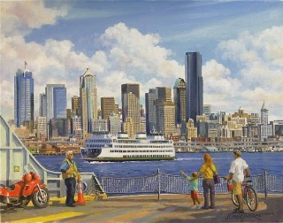 Seattle Ferry Boat Skyline