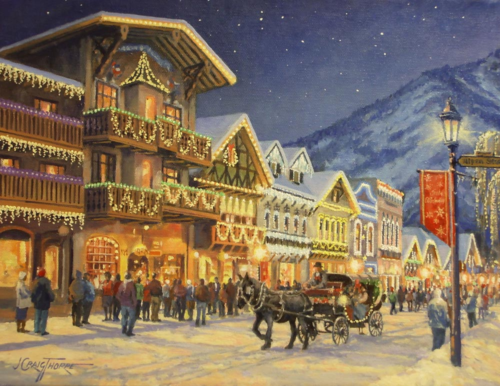 """Leavenworth Front Street– Oil-on-canvas 11″x14″ showing the Christmas lights in the famous """"Bavarian"""" town in the Washington Cascade Mountains."""