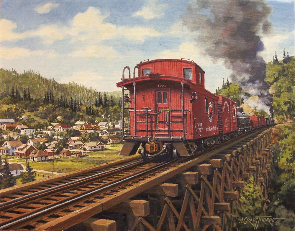 Caboose –Oil-on-canvas 11″x14″ showing a former Northern Pacific Railway caboose, currently owned by a resident of Issaquah, WA, on the former Issaquah trestle.