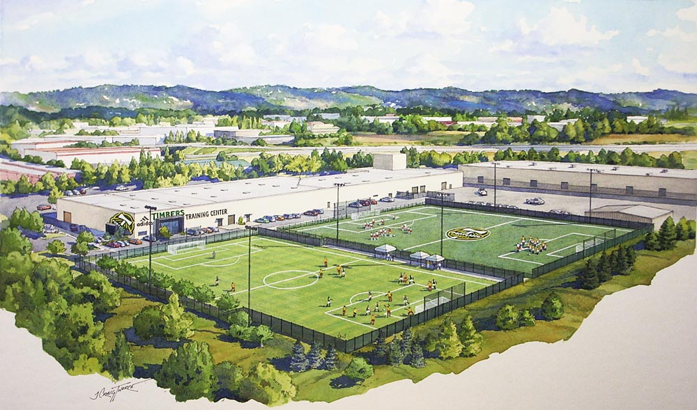 Aerial ink and water color rendering Portland (OR) Timbers MLS team practice fields; D. A Hogan & Assoc.; Seattle, WA