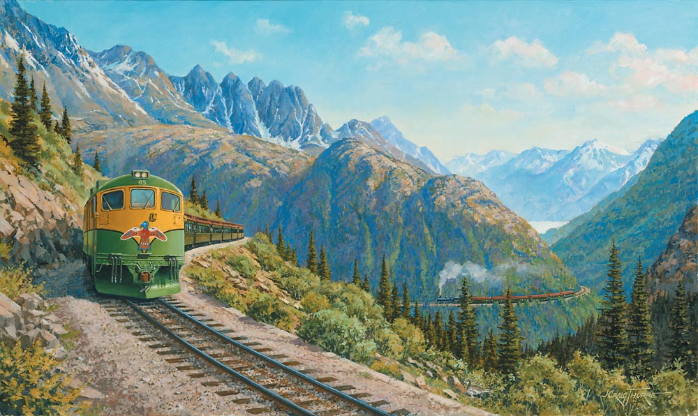 Inspiration Point – Oil-on-canvas 16″x27″ commissioned by the White Pass & Yukon Route, Skagway AK; one of an open series of paintings used on calendars, cards and other products showing a WP&YR train at Inspiration Point, AK.