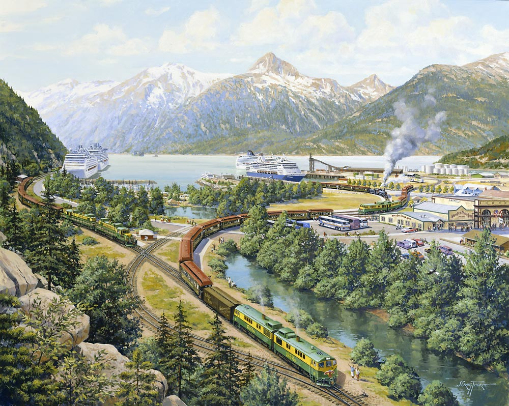 Skagway Port – Mile Zero – Oil-on-canvas 24″x30″ commissioned by the White Pass& Yukon Route, Skagway, AK; used on an annual calendar and for a variety of promotional pieces showing the Port of Skagway.